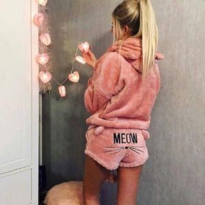 Meow Velour Hoodie and Short Set